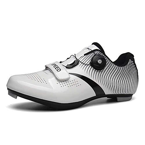 VIPBQO Neue Hochwertige Renn- / Mountainbike-Schuhe Für Herren Und Damen Fahrradschuhe Mit Klettverschluss Und Schloss Größe 36-46 (43,weiß)
