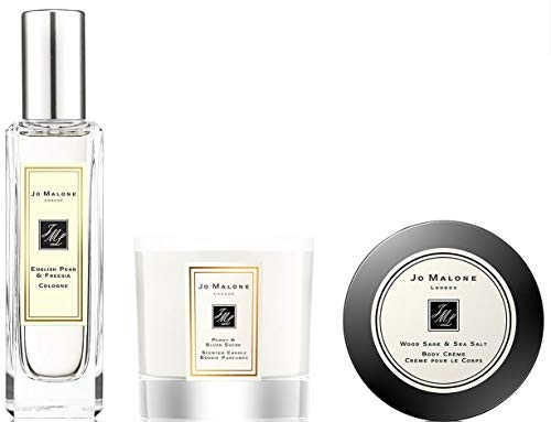 Luxuries Trio - English Pear & Freesia Cologne - Wood Sage & Sea Salt Body Cream - Peony & Blush Suede Scented Candle