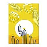 LiMengQi2 Dibujos Animados Cactus decoración guardería Pared Arte Lienzo Carteles e Impresiones Pintura Imagen Decorativa niños Dormitorio decoración (sin Marco)