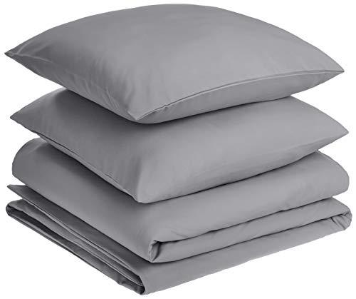 AmazonBasics - Juego de fundas de edredón y almohada de microfibra premium (260 x 240 cm / 65 x 65 cm), gris oscuro