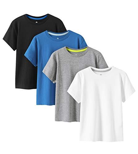 LAPASA Pack de 4 Camiseta para Niño o Niña Unisex de Manga Corta Algodón K01 (8-9 Años (Largo 50, Pecho 39 cm), Cool Colors (Negro, Blanco, Gris, Azul Oscuro))
