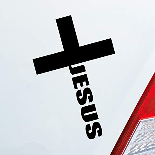Hellweg Druckerei Auto Aufkleber Jesus Cross Kreuz Kirche Glauben Gott Car Sticker Folie Schwarz Matt
