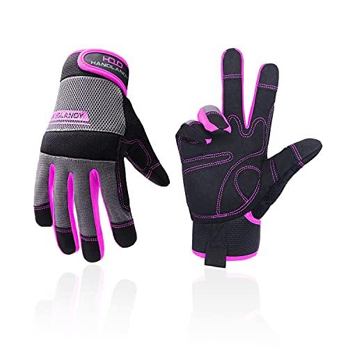 Arbeitshandschuhe für Herren und Damen, ultraleicht, für Mechaniker, Gartenarbeit mit Touchscreen (M, Pink)