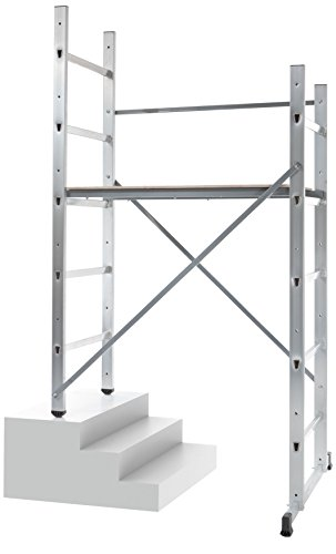 Hailo 9473-311 - Andamio de aluminio Hobby 3 (altura máxima de trabajo 3 m), gris