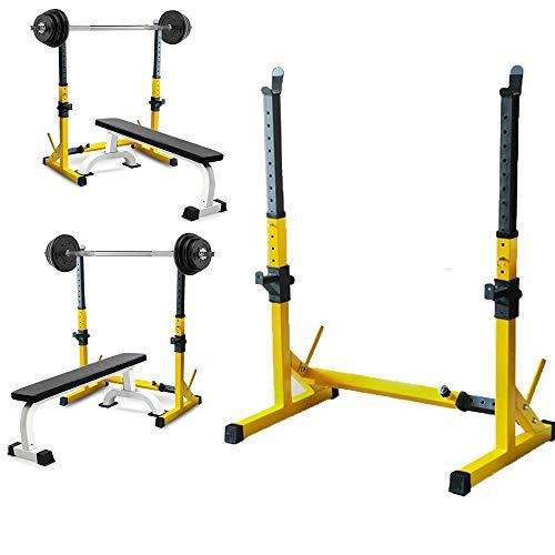 ZLMI 12 Gänge verstellbarer Siamesische Langhantelablage für den Innenbereich, für Sport, Fitness, Krafttraining, Gewichtheben, Kniebeugen, Gelb