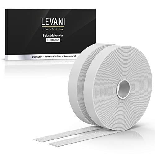 Levani Premium Klettband Selbstklebend Extra Stark 8 M - Advanced Version - Klettverschluss Selbstklebend mit extra starkem Halt - 20mm Breites Klett Klebeband aus Nylon & Polyester