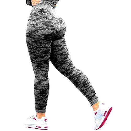 RIOJOY Women's Camo Seamless Running Leggings Gym Workout High Waist Yoga Pants Yoga Tops(Selling Separately)