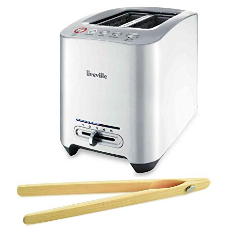 Breville BTA820XL 2-Slice Smart Toaster Bundle with Norpro Bamboo Toaster Tongs - Brushed Die–Cast Aluminum