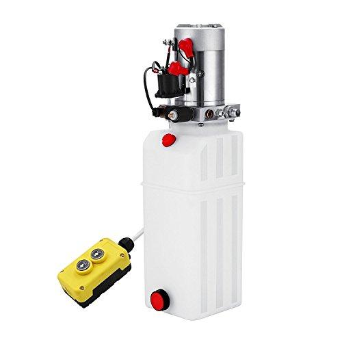 ZauberLu 12V/DC Hydraulikpumpe Einfachwirkend Kipperpumpe Hydraulikaggregat 10L Kunststofftank Antriebseinrichtung für Auto(10L Einfachwirkend Kunststoff)