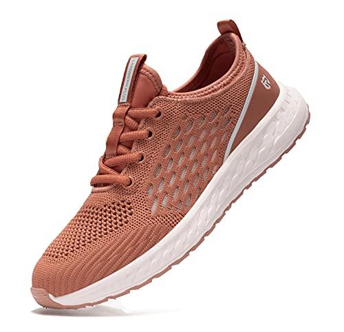 LARNMERN PLUS Chaussures de Sport Femme Léger Sports Sneakers Confort Antidérapante Chaussure de Course Basses Running Fitness Marche Jogging Route Baskets Faille Décontractée(Marron,38)
