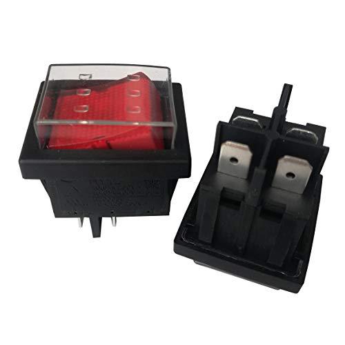 2Pc KEDU HY12 4Pins 10A 250V DPST Wasserdicht Industriell Elektrisch Drucktastenschalter Wipptastenschalter für Elektrowerkzeuge 6.3 Tab