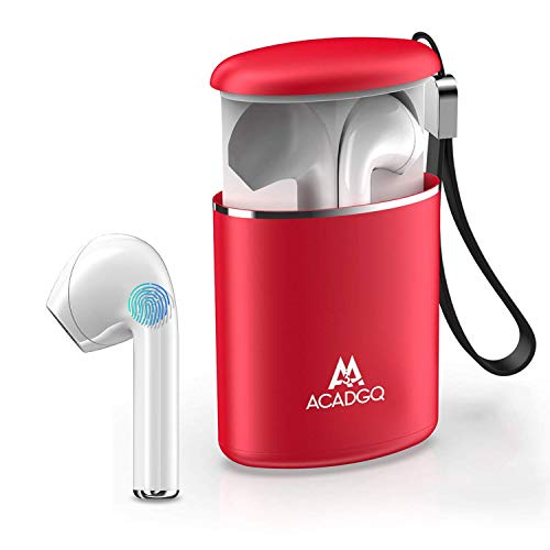 Earbuds Bluetooth Wireless, ACADGQ True Wireless Earbuds with Mic TWS Bluetooth Earphones 5.0 Noise Cancelling Pull-Out Charging Case for iPhone/Android(Upgraded)