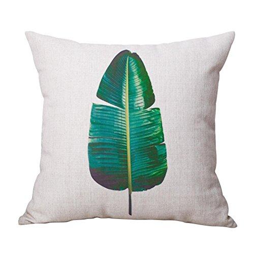 WINOMO Couvre-lit Taie d'oreiller coton Lin Canapé Coussin Taie d'oreiller Housse de coussin Chambre à coucher Home Decor 18 x 18 (Feuille de bananier)