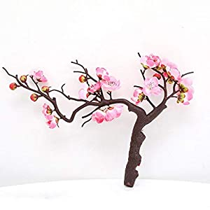 GFSDDS Artificial Fake Flower, Short Red Plum Blossom Branch, Artificial Flowers for Winter Home Party Table Decoration Silk Fake Flower