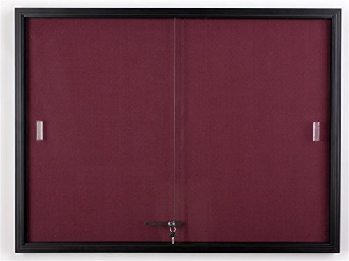 48 x 36 Fabric Tack Board with Locking Sliding Glass Door 4 x 3 Wall-Mounted Enclosed Bulletin Board for Indoor Use - Black Aluminum Frame with Maroon Fabric