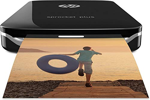 """HP Sprocket Plus Instant Photo Printer (Black) Prints on 2.3x3.4"""" Zink Sticky Back Pictures Straight from Smartphone & Social Media."""