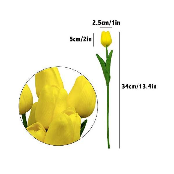 Aisamco 20 Piezas Tulipanes Artificiales Tulipanes Real Touch Ramos de Boda Flores Tulipanes Falsos Tulipanes PU Flores…