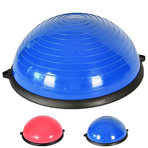 MSPORTS Balance Ball Trainer Premium | Gymnastikball + Expander & Pumpe - beidseitig nutzbar | Balance Trainer/Board für Gleichgewichtsübungen (Blue)