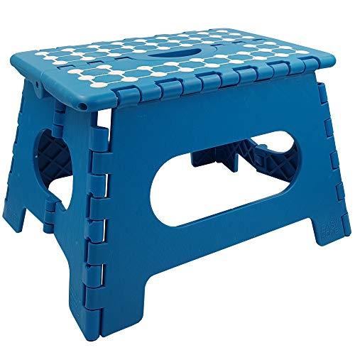 Power-Preise24 Klapphocker in Blau aus Kunststoff - Faltbarer Tritthocker 34,5 x 27 x 22 cm - Max.Belastung 150kg - tragbar, rutschfest und platzsparend