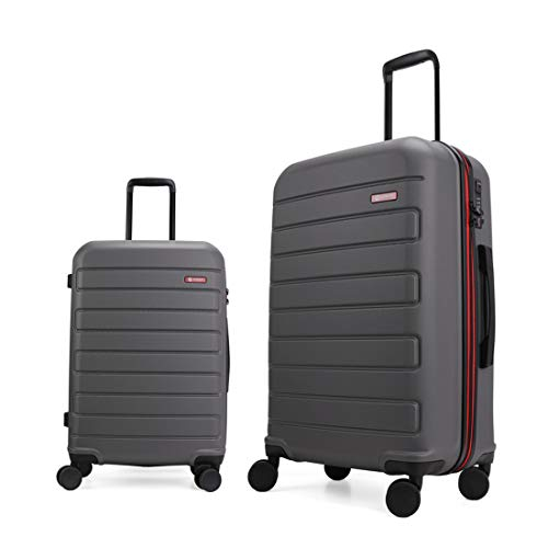 GinzaTravel Hardside Spinner, Carry-On, Wear-resistant, scratch-resistant Suitcase 20''and 28''set Luggage with Wheels (2-Piece Set, Grey color)