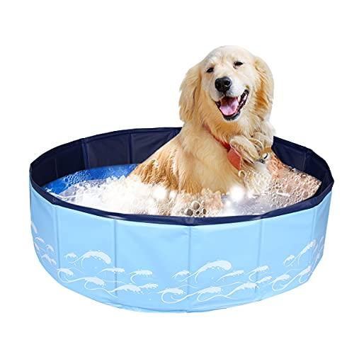 Bilisder Hundepool für Hunde, Faltbares Hund Planschbecken Schwimmbecken Innen Außen Tragbare Badewanne Badewanne Wasserteich Haustier Pool Faltbares Pool für Hunde Haustiere und Kinder (Blue)