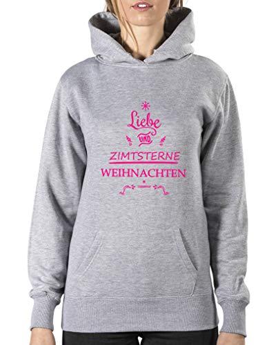 Comedy Shirts Sweat à capuche pour femme avec inscription « Liebe und Zimtstern » et manches longues - Gris - XL