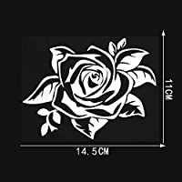 LGLGXR 14.5cmx11cmチャームバラの花の車体窓のステッカーとデカールのスタイリングの装飾 (Color Name : Silver)