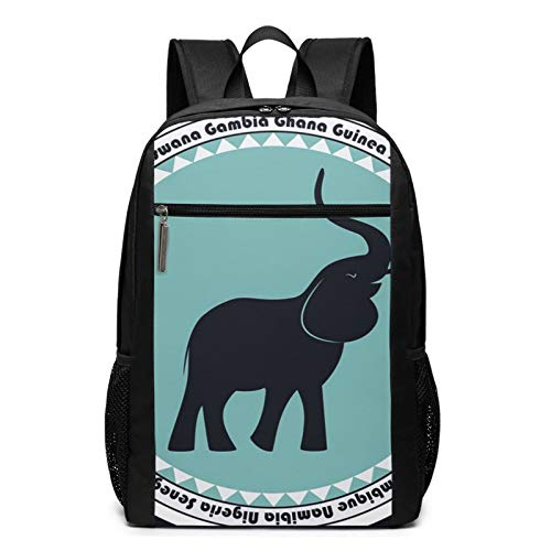 School Backpack Label Elephant Africa, College Book Bag Business Travel Daypack Casual Rucksack for Men Women Teenagers Girl Boy