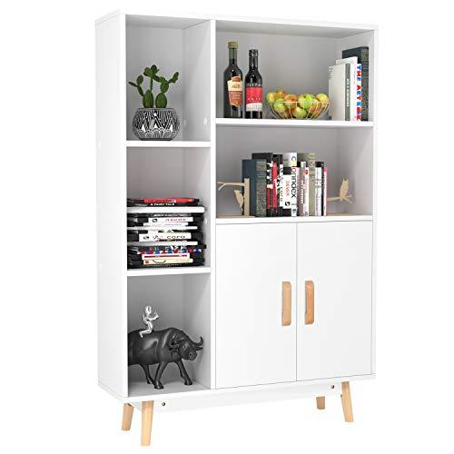 Homfa armadietto Legno con Ante Mobile Soggiorno 3 Ripiani 5 Cubi Mobili con Gambe da Ufficio e Casa Bianco 119 ×80 × 23.5 cm
