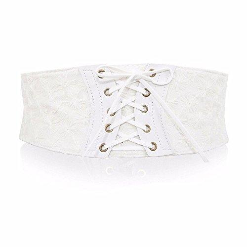 SAIBANGZI Ceintures de Femmes Les Femmes Portent de Larges Bandes de Dentelle Bretelles Taille Lacets de Serrage. One-Size/Blanc B