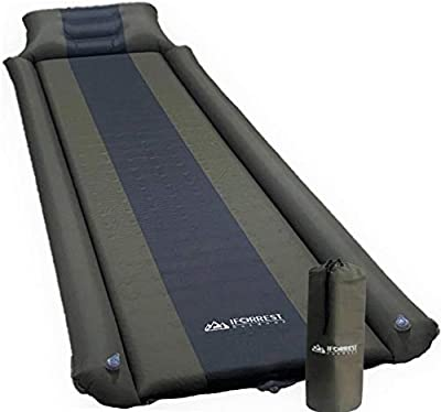 IFORREST Sleeping Pad with Armrest & Pillow - Self Inflating Camping Mattress - Rollover Protection - Ultra-Comfortable Foam Air Mats for Cot, Tent, and Hammock