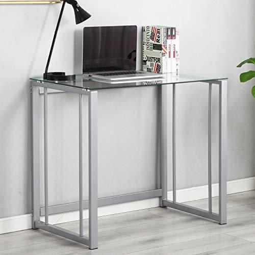 Escritorio de la computadora 90cm Escritorio pequeño PC Desk Office Escritorio de Vidrio Estación de Trabajo para Oficina en casa Mesa de Escritura, Transparente, UT-097