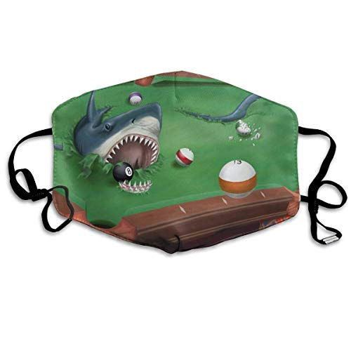 TRUJDNS Anti Dusk Face Cover Shark In A Pool Billiard Table Printed Facial Decorations Washable Cloth Mouth Protection for Women Men