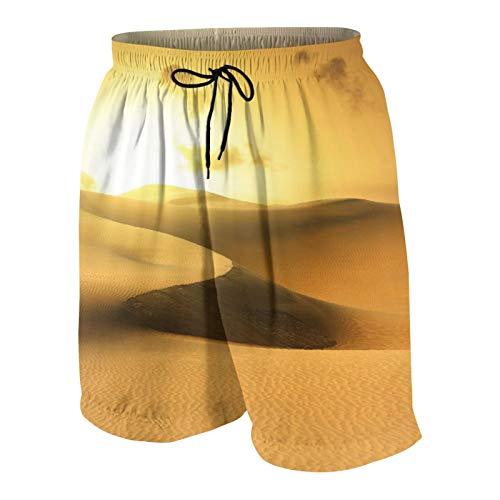 SUHOM De Los Hombres Casual Pantalones Cortos,Desierto de Oro en la Puesta del Sol. Canarias, Canarias,Secado Rápido Traje de Baño Playa Ropa de Deporte con Forro de Malla