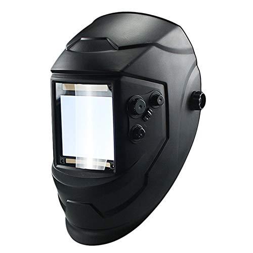 Hełm spawalniczy, Solar Automatyczny spawalniczy kask Duży okno 4 Czujniki Zewnętrzna regulacja DIN 5-DIN 13 okulary ochronne (Color : Black)