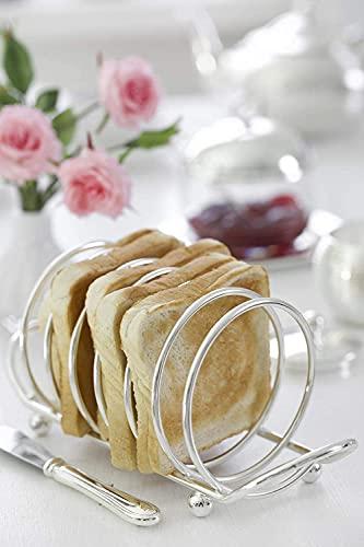 NN Soporte para tostadas (capacidad para 6 rebanadas, chapado en plata, longitud 22 cm)