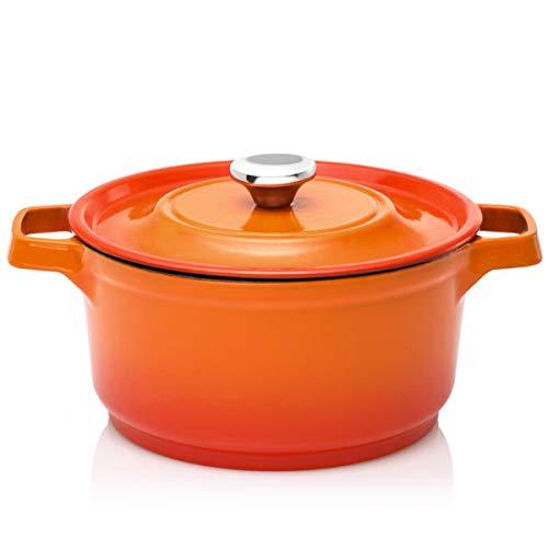 COOKER KING KÖNIG KP5 Four hollandais en fonte émaillée avec couvercle et 6 casseroles antiadhésives classiques avec poignées en silicone Orange