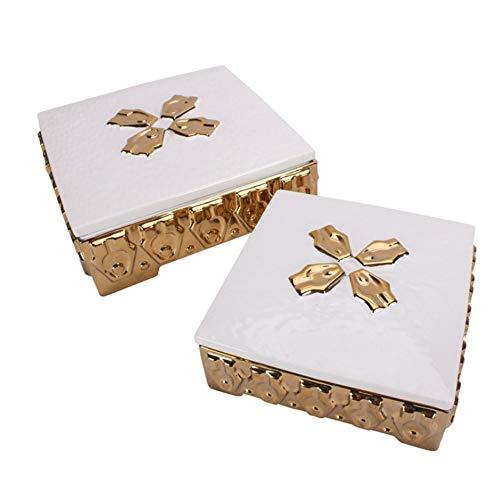 Joyero 2 Piezas de almacenamiento pendiente del anillo de la caja de joyería caja de almacenaje Organizador Bandeja franela titular de regalo Muestra Accesorios de caja de almacenamiento de joyas Stor