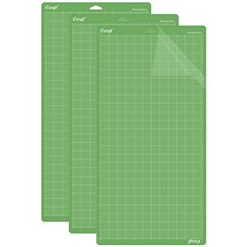 Ecraft Standard Grip Cutting Mat for Cricut Explore One/Air/Air 2 Maker(12X24inch 3 Pack) Adhesive&Sticky Green Square Gridded Quilting Cut Mats Replacement for Crafts?Sewing and All Arts.