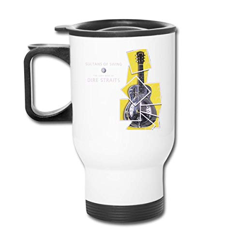 Dire Straits Sultans van Swing Coffee/Thee/Kar Mokken Bekers Tumbler Office Personeel Geïsoleerde Travel Auto Spill Proof Flip Deksel Wit Gemakkelijk te Hold Handvat 450ml