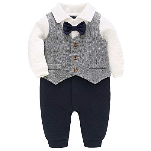 Bebone Baby Jungen Strampler Taufe Hochzeit Babykleidung Langarm Anzug (Grau, 3-6 Monate)
