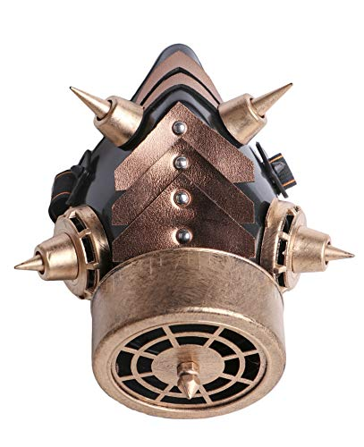 Arsimus Steampunk Gas Mask with Spikes (Gold)