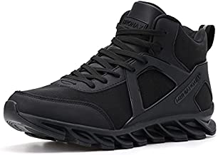 BRONAX High Top Basketball Shoes Leather Lace Up Gifts Tennis for Mens Youth Boys Sports Athletic Street Hightop with Ankle Support Zapatos de Basketball Hombre All Black Size 12