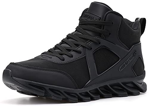 BRONAX Winter Sneakers for Men High Top Waterproof Leather Fashion Snow Sneakers Running Walking Tennis Snickers for Men Shoes Cool Young Mens All Black Size 10