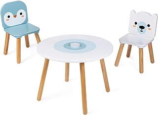 Janod - Table et 2 Chaises Banquise en Bois - Table Ronde Enfant avec Pot à Crayons Amovible - 1 Chaise Ours Blanc et 1 Ch...