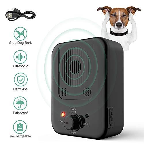 Antibellvorrichtung, Ultraschall Stopp Hund Rinde Abschreckung, Wasserdicht & Outdoor Rindensteuerung Sicher für Hunde Training im 50 Fuß Bereich
