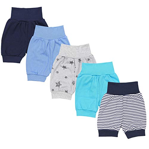 TupTam Unisex Baby Pumphose Sommershorts Baumwolle 5er Pack, Farbe: Junge 3, Größe: 86/92