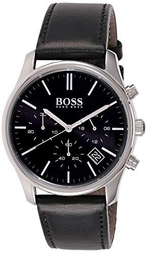 Hugo Boss Herren Multi Zifferblatt Quarz Armbanduhr mit Lederarmband