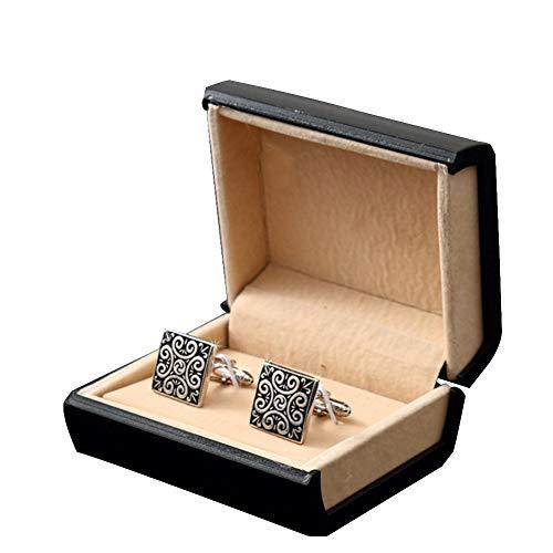 WANGXN Herren Manschettenknopf Personalisiert Fashion Square Retro Muster Für Hemd Manschetten Nägel 2PCS, Mit Manschettenknopf Box,Black
