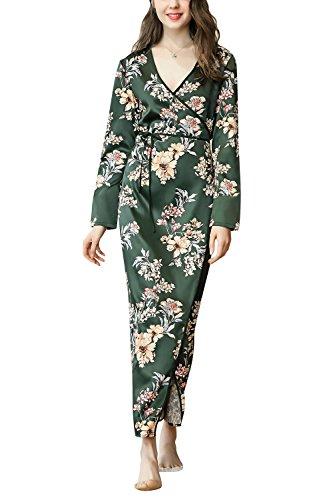 Dolamen Mujer Vestido Kimono Satén, Camisón para Mujer, Flores Florales Robe Albornoz Dama de Honor Ropa de Dormir Pijama, Largo 2018 Busto 100 cm (Busto Larghezza 100 cm, Verde)